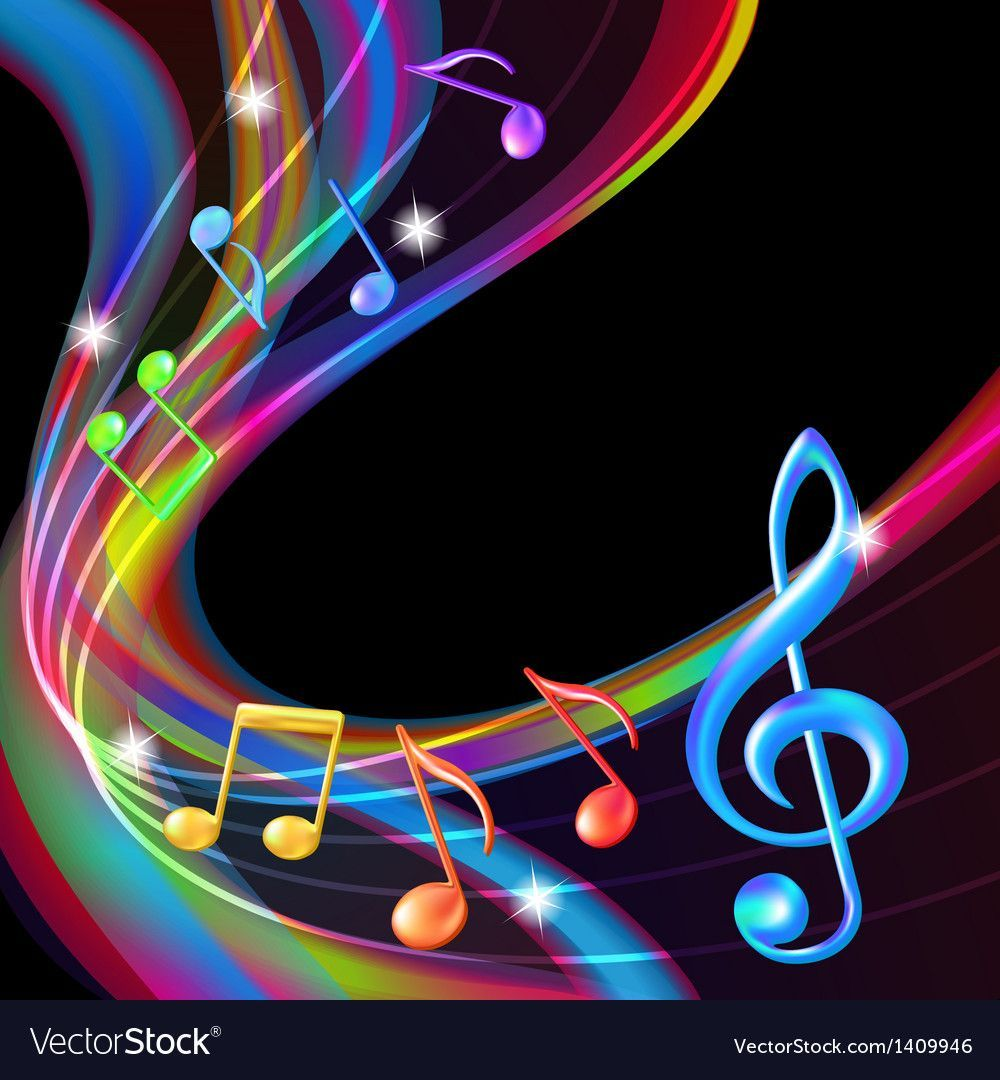 Colorful abstract notes music background. Vector