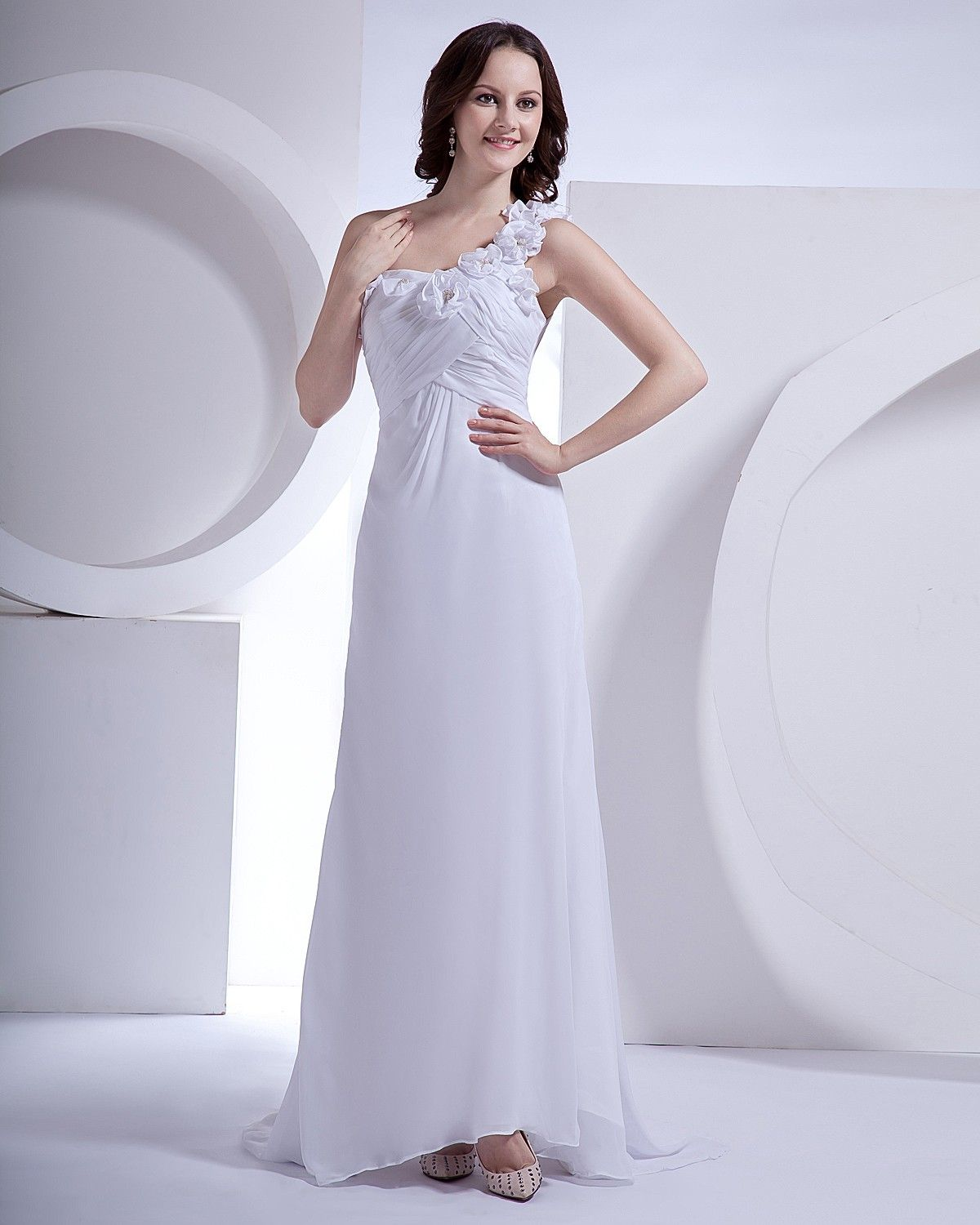 Chiffon one shoulder flower court sheath bridal gown for Petite wedding dress designers