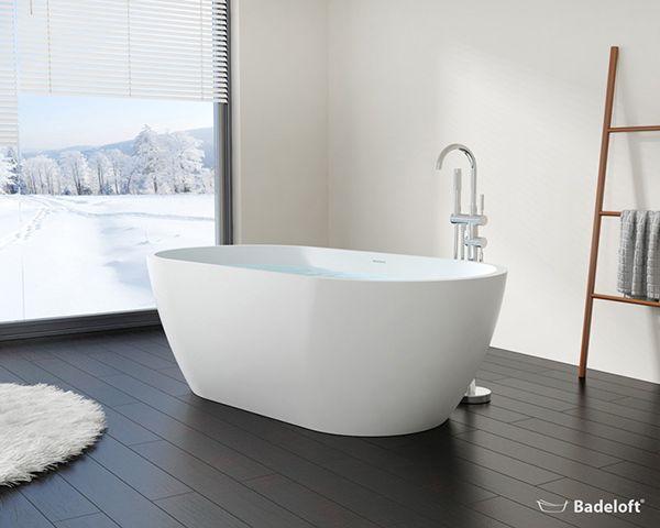 Freistehende Badewanne BW-02-XL aus Mineralguss Badezimmer