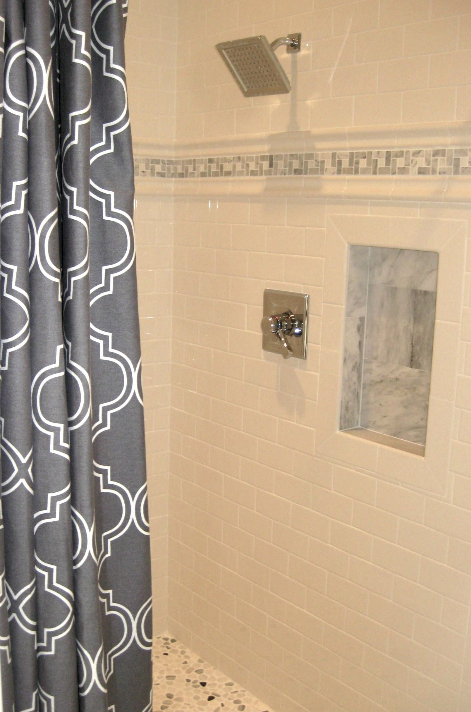 Master Bath walk in shower with pebble floor, custom marble inlay ...