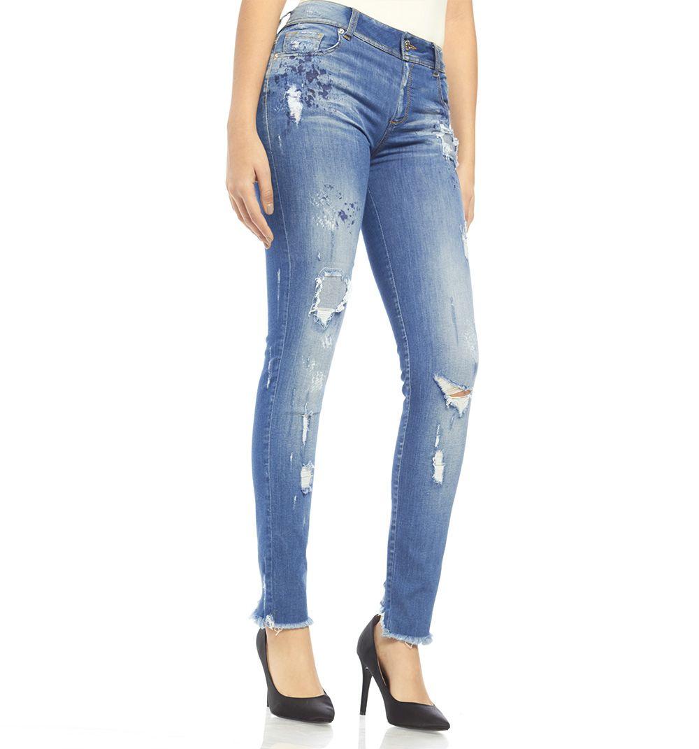 Jeans Skinny Rotos Parche Con Pinturas Ref S137016 Studio F Vaqueros Pitillo Jeans Skinny Skinny