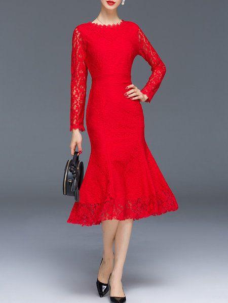 c56778acfe7 Elegant Mermaid Long Sleeve Midi Dress