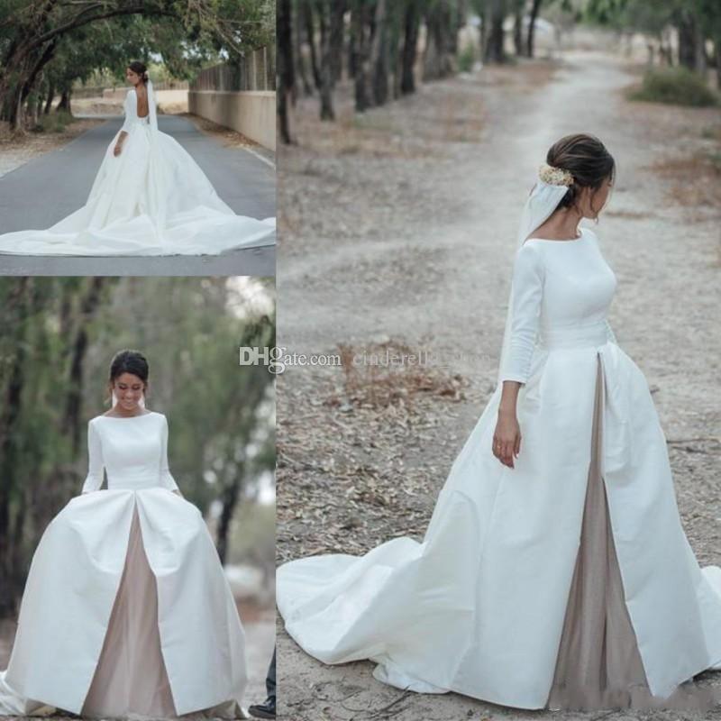 2018 Retro Wedding Dresses Long Sleeves Backless Court Train Satin ...