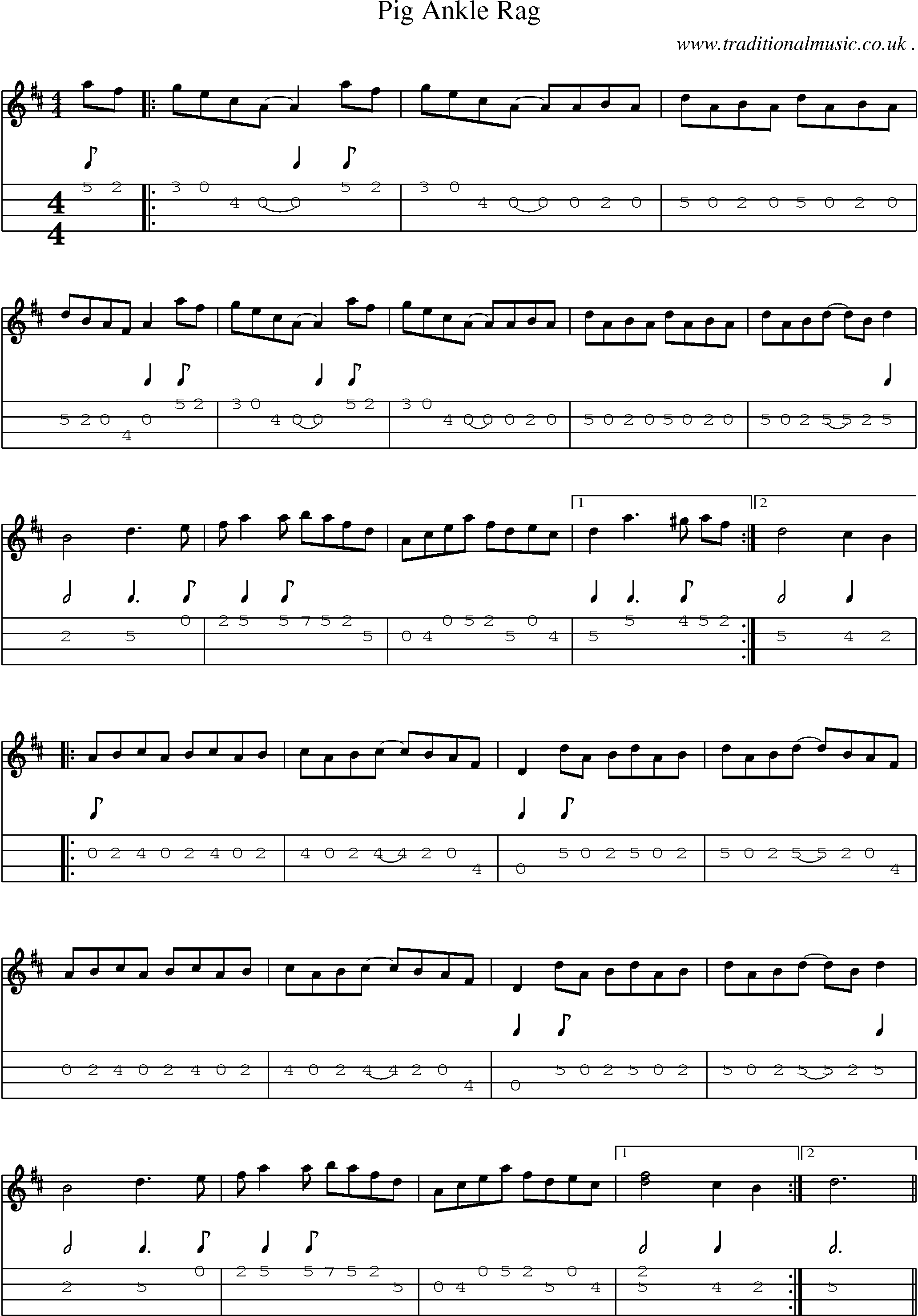 Music Score And Mandolin Tabs For Pig Ankle Rag Mandolin In 2019