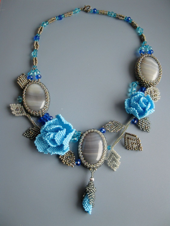 Beaded flower necklace light blue rose grey от Elinawonderland