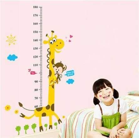 Cartoon Measure Wall Stickers For Kids Rooms Giraffe Monkey Height Chart Ru C1K2