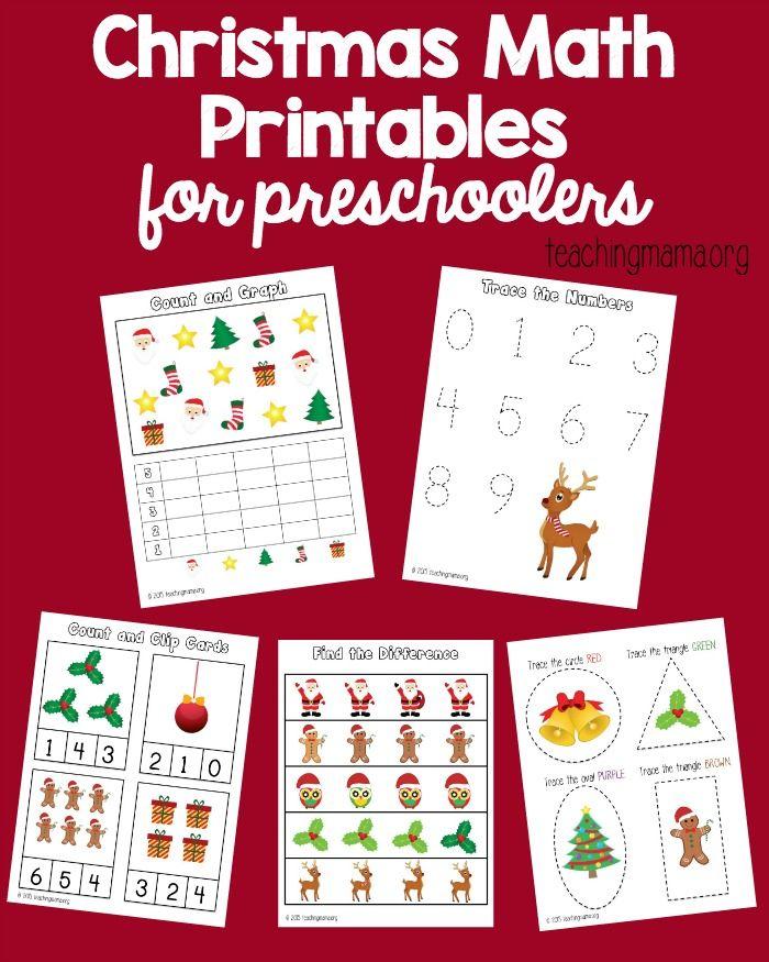 Christmas Math Printables for Preschoolers Christmas