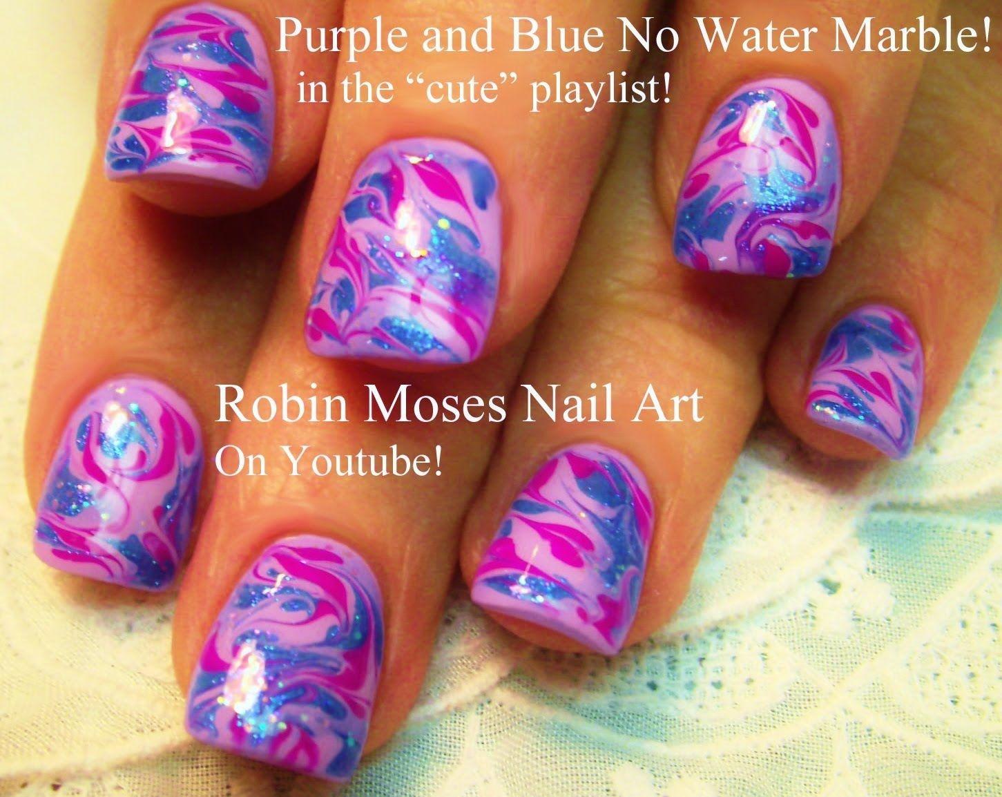 No Water Needed - DIY Marble nail art Tutorial | robin moses nail ...