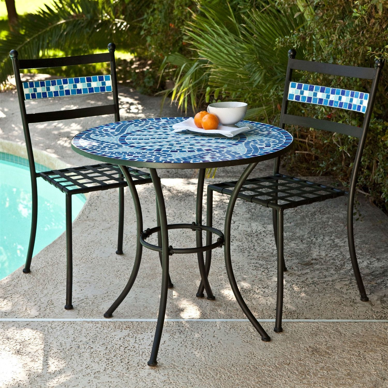 Outdoor 3 Piece Aqua Blue Mosaic Tiles Patio Furniture Bistro Set