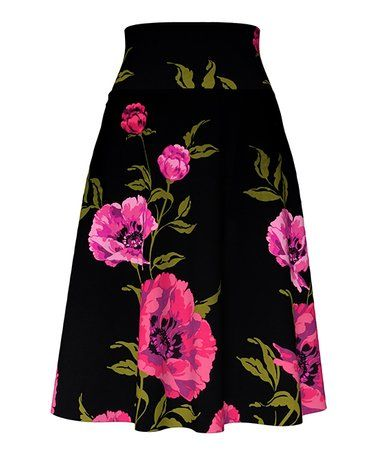4ccff0a3d7 VKY & CO   Black & Magenta Floral A-Line Skirt - Women & Plus in ...