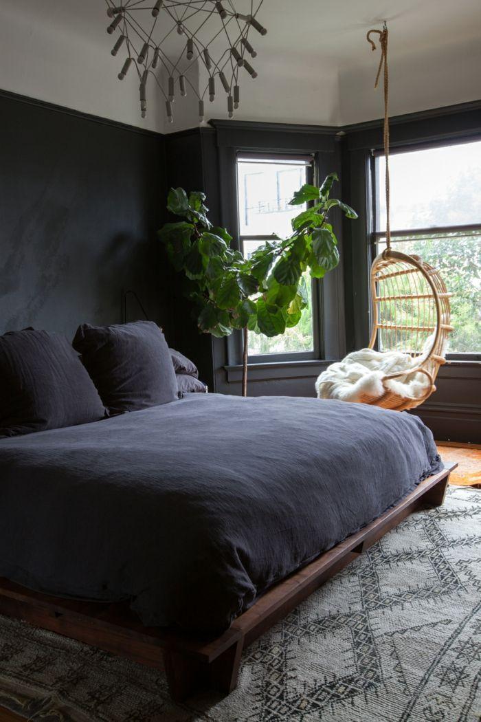 Dormitorios Modernos Dormitorio Acogedor En Colores Oscuros - Silla-colgante-de-mimbre