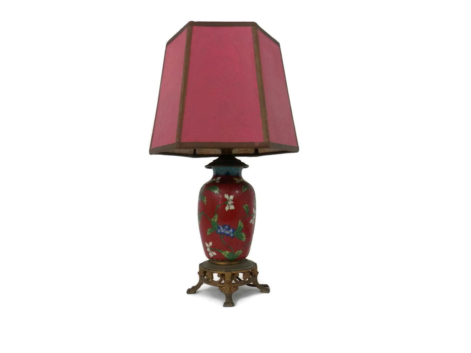 Chinese Cloisonne Lamp W/Original Shade Pigeon Blood Red And White And Blue  Flowers