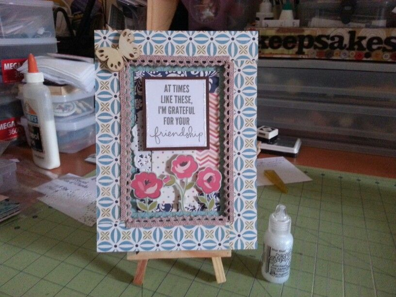 altered ikea frame, using papers from october afternoon, stamp from simon says stamp, and butterfly from prima.