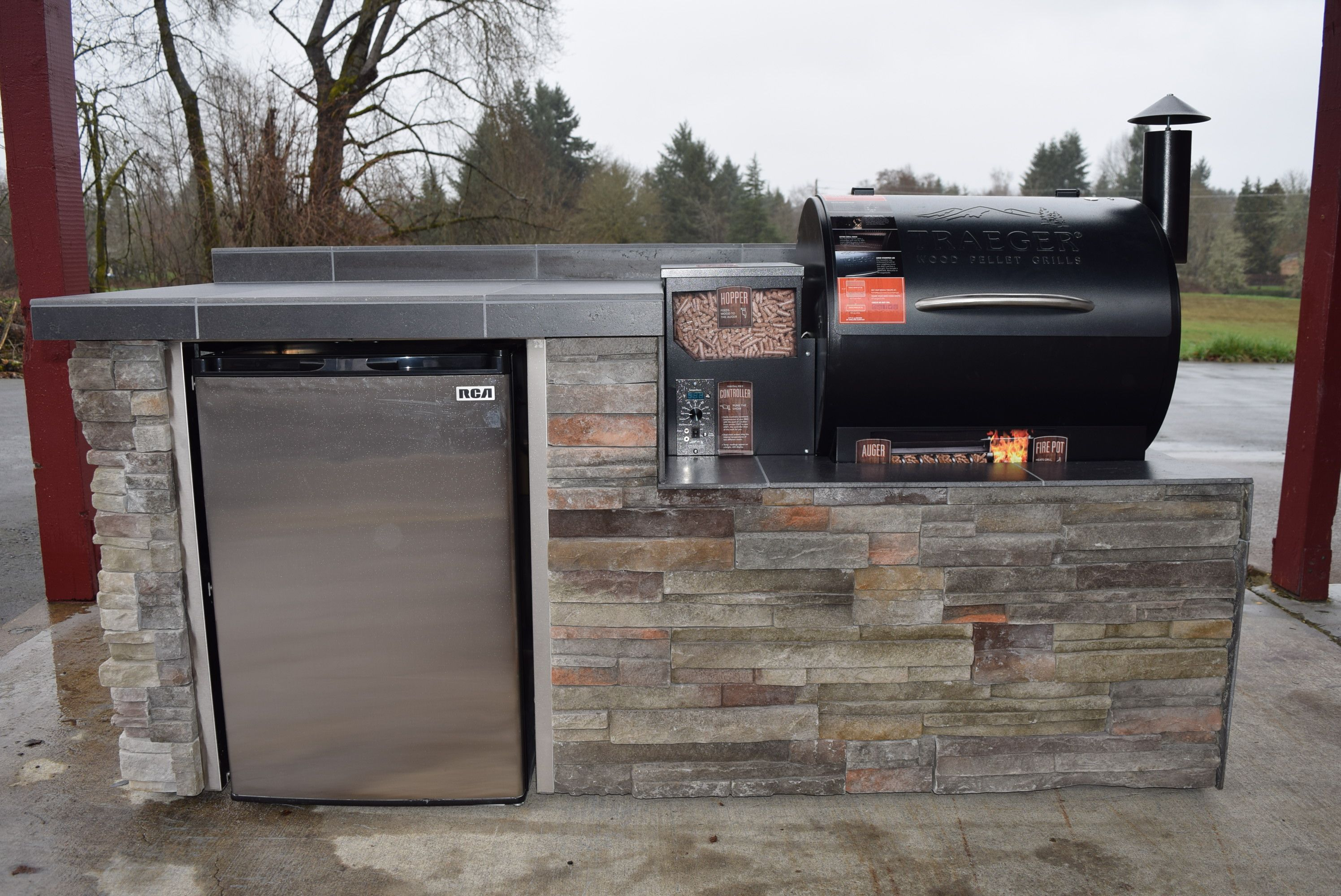 Outdoor kitchen for the Traeger pellet grill We custom build for