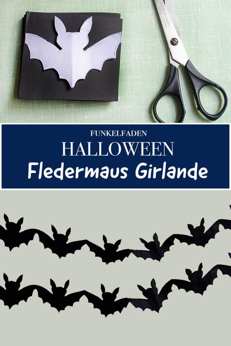 Halloween-Girlande mit Fledermaus basteln - Ideen für Halloweenparty #halloweencraftsforkids