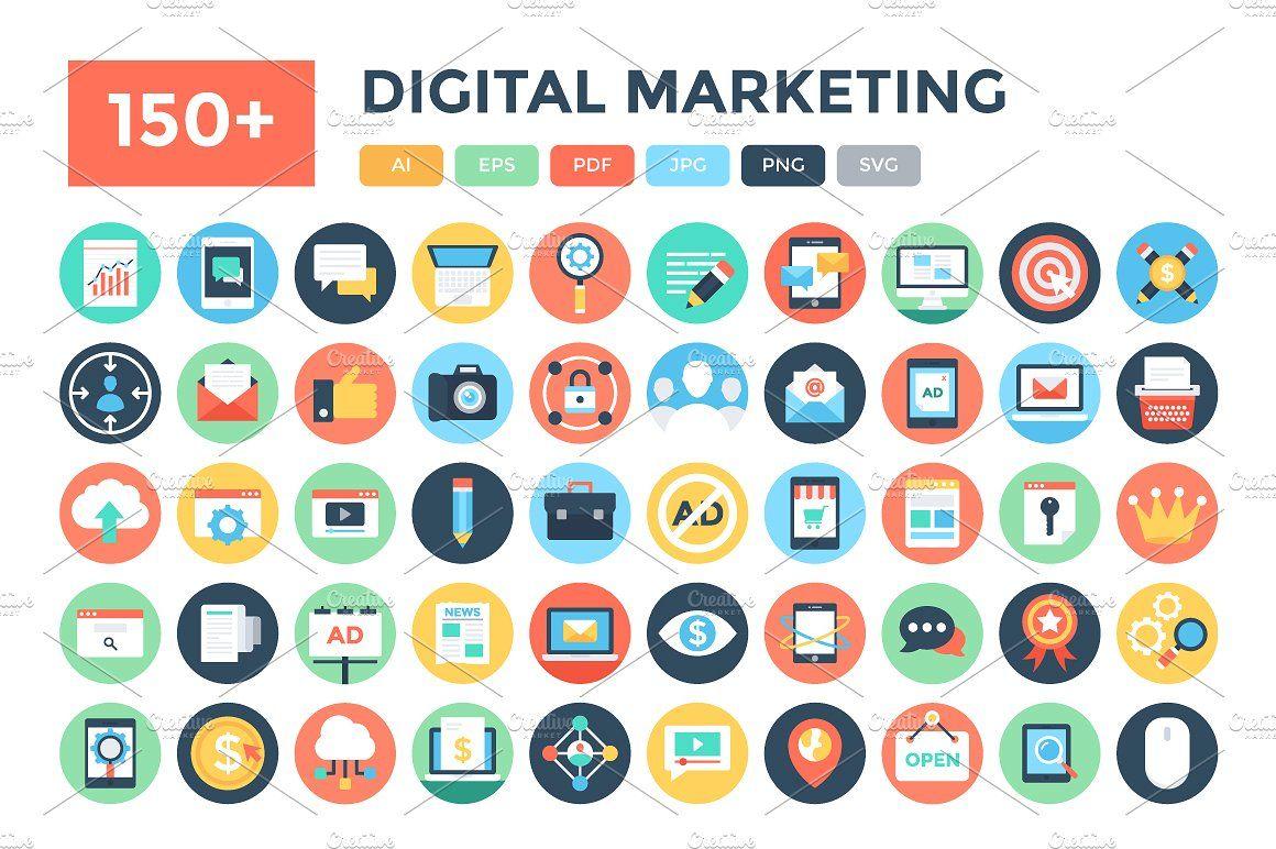 150 Flat Digital Marketing Icons Marketing Icon Communication Icon Resources Icon