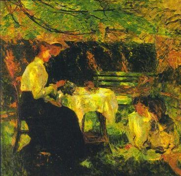 Tea in the Garden, detail, oil on canvas, by Walter Frederick Osborne, Irish, 1859-1903.