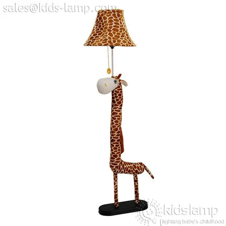 Kids Bedroom Fabric Cartoon Giraffe Floor Lamps