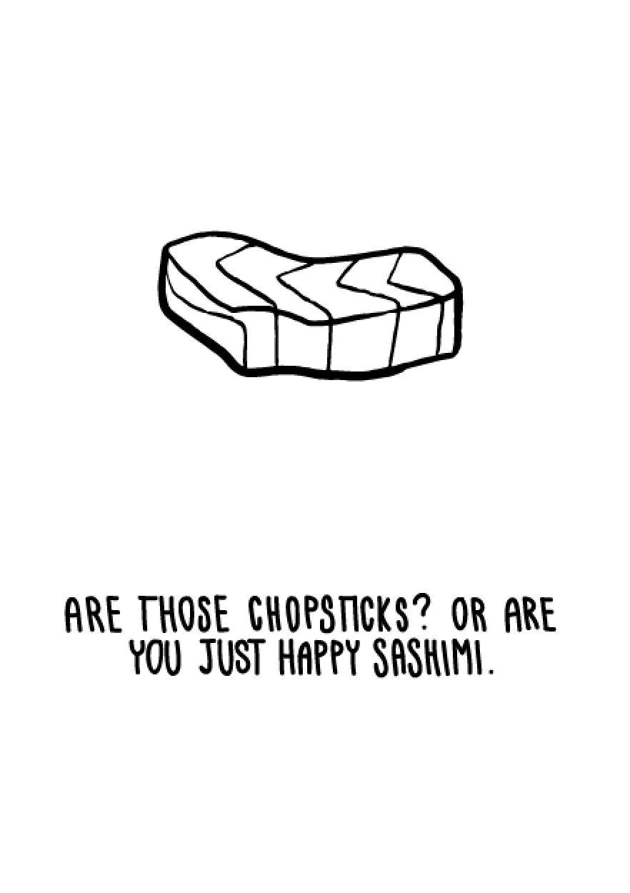 Squaremeal Furrylittlepeach Japanese Food Greeting Cards Food Puns Sushi Puns Food Jokes