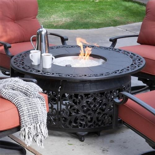 Round Gas Fire Pit Table With Propane Burner Fire Glass Ebay