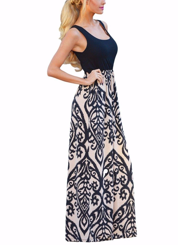 Black Maxi Dress Tank Boho Printed Design Comfy Stretch White Medium 61477 Boho Dresses Long Floral Maxi Dress Boho Dress [ 1449 x 1053 Pixel ]