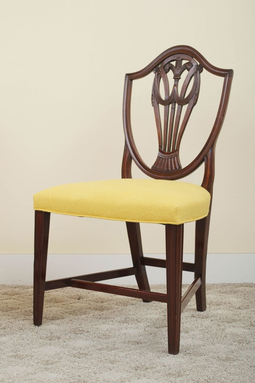 Pair Of 19th Century Mahogany Hepplewhite Style Shield Back Side Chairs