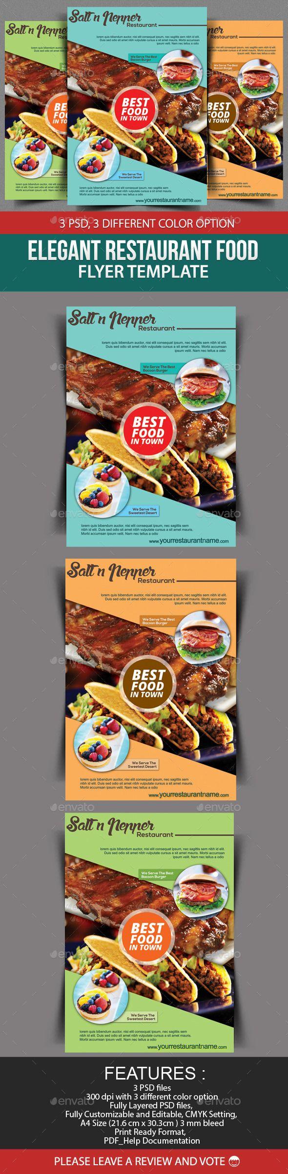 Elegant Restaurant Food Flyer Template  Flyer Template Font Logo