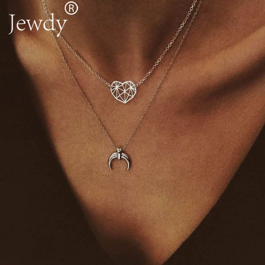 6f30c85b10 Moon Heart Pendant Necklaces Round Carving Trendy Necklace Three Layer  Chains Necklaces Simple Jewelry For Women