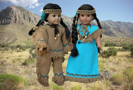 Native American Outfits Dolls Knitting pattern #indianbeddoll