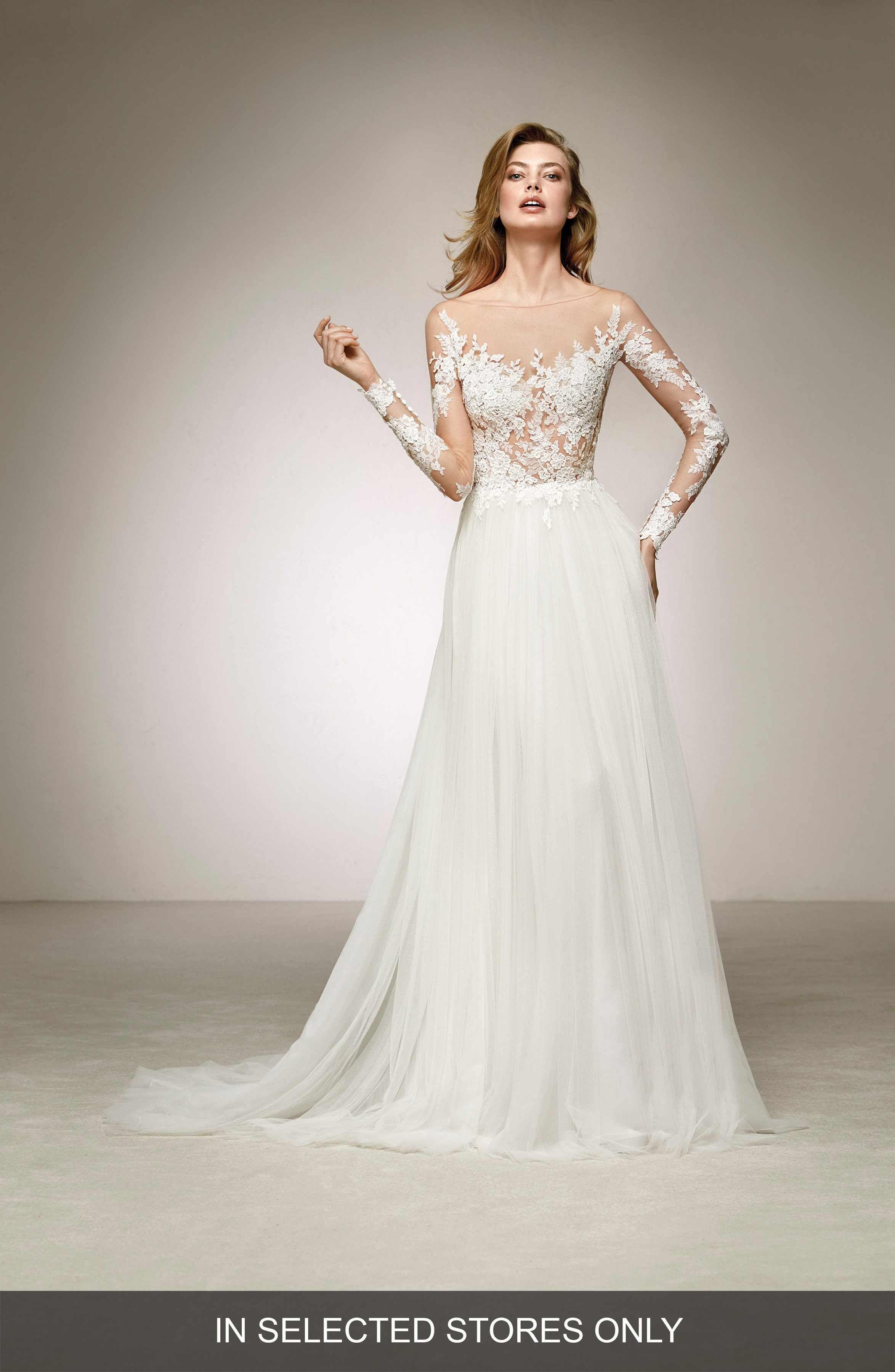 Main Image - Pronovias Datil Illusion Tulle A-Line Gown   wedding ...