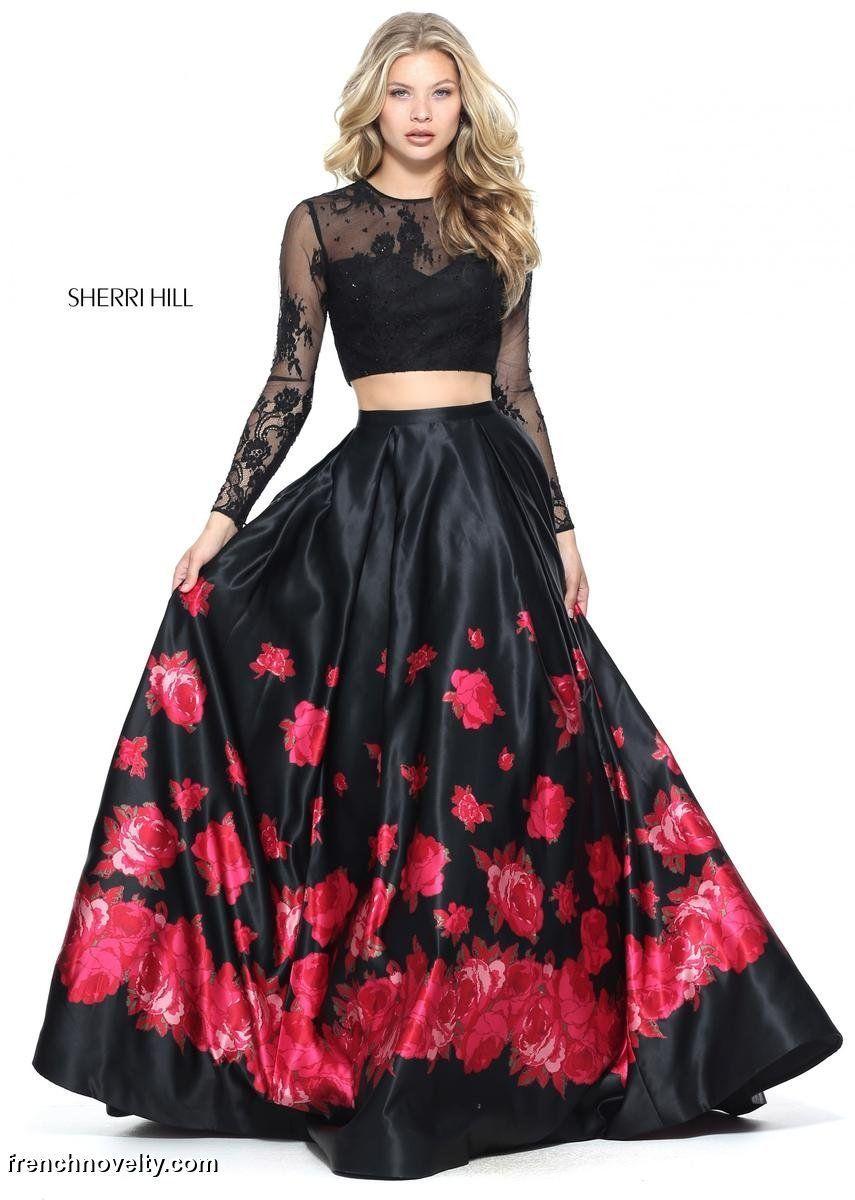 Sherri Hill 51195 Lace Long Sleeve 2pc Floral Ball Gown Sherri