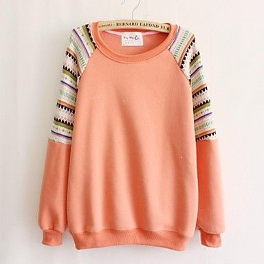 Women's Round Neck Geometric Patterns Casual Long Sleeve Sweater