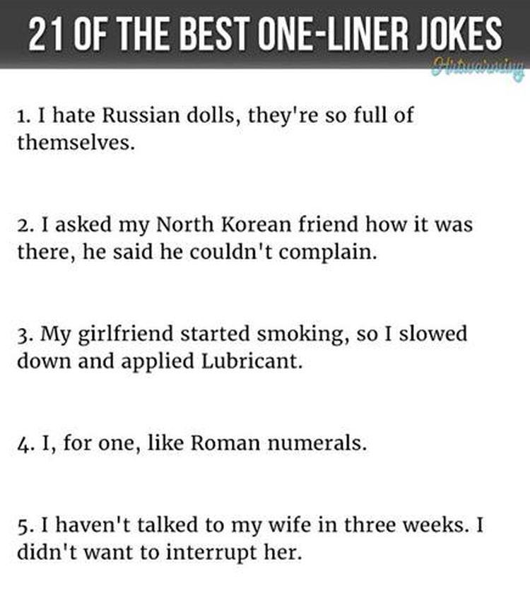 One Liners Part Jokes Pinterest - 21 best one line jokes ever