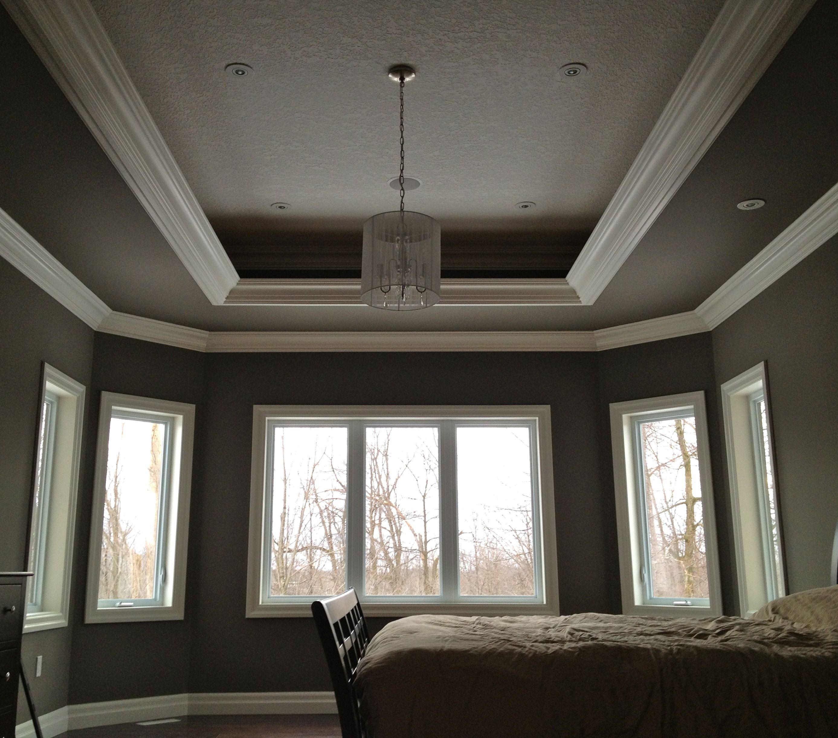 Tray Ceiling Paint: Trey Ceiling With A Three Layer Crown Design And Orange