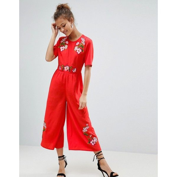 5d9bbab55e20 ASOS Embroidered Tea Jumpsuit ( 72) ❤ liked on Polyvore featuring jumpsuits