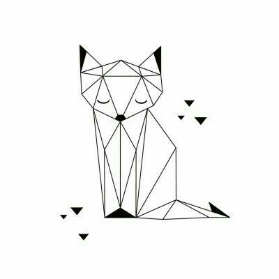 The Fox Print By Lilipinso Portrays An Outlined Cute Unique In Its Geometric Features This Lovely Is Peacefully Sitting And Musing With Eyes