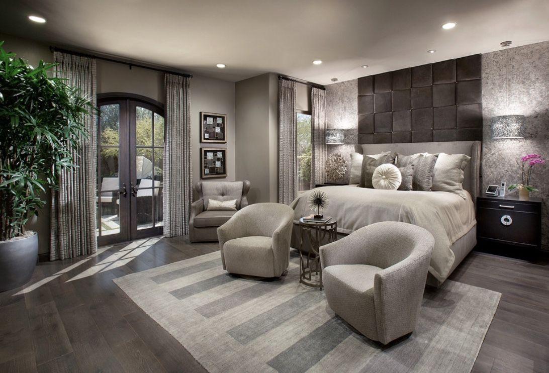 Grey Bedroom Decor With Grey Upholstered Bed And Swivel Chairs Bedroomdecor Dreambedroom Luxurybedr Luxurious Bedrooms Stylish Bedroom Design Bedroom Design
