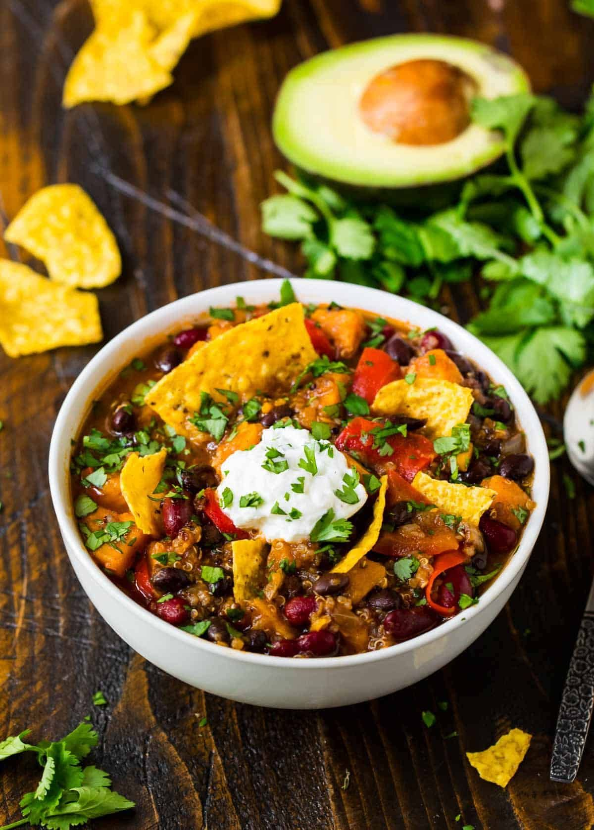 It's one of my favorite unofficial days of the year: the first chili recipe! This Instant Pot Vegetarian Chili made with canned beans, sweet potato, quinoa, and a rainbow of southwest spices is more than deserving of this year's #1 spot. It's rich and hearty, strikes an ideal balance between spicy and sweet, and, thanks to the Instant Pot, cooks in minutes instead of hours. If a single recipe concept could be extended to an entire food group, chili would have my top vote. With all of its ... #veggiechilirecipe