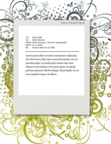 Green floral design - Free Invitation Template by Hloom - free word invitation templates