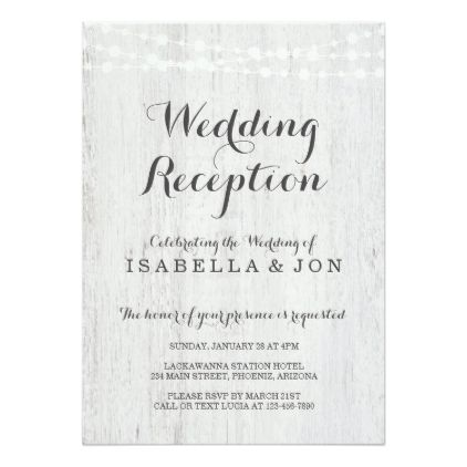 Wedding Reception Only Invitation Rustic Romantic Card chic design