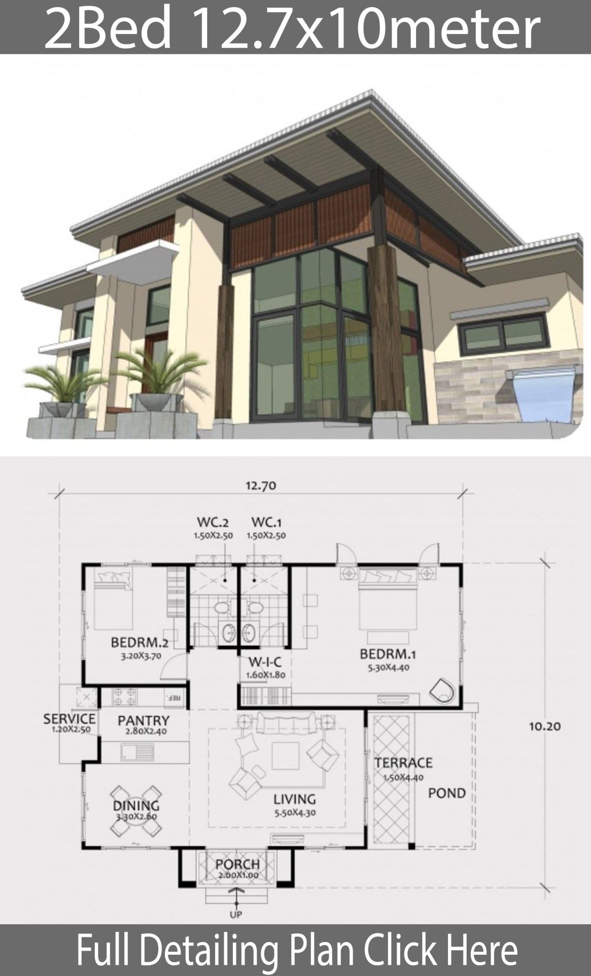 Home Design Plan 12 7x10m With 2 Bedrooms Building Plans House Home Design Plan House Architecture Design