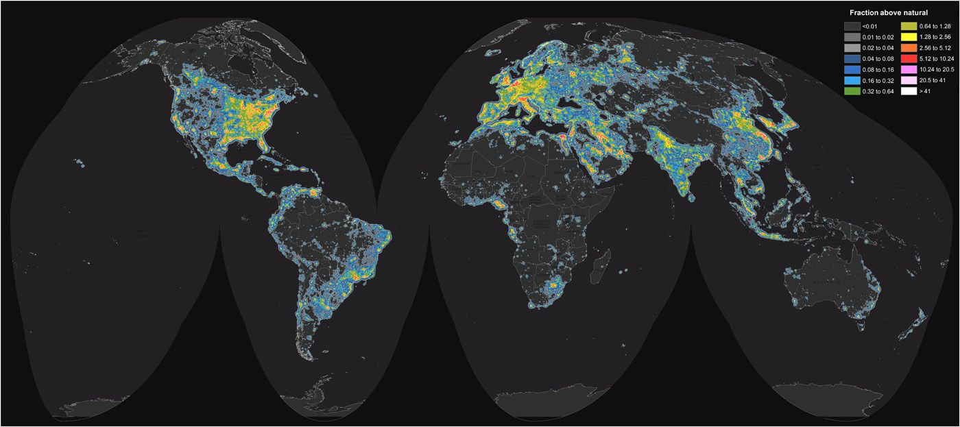 Blue rich led streetlights not only brighten the night sky as this global map of brightness satellite data and ground measurements were used to create a global map of light pollution gumiabroncs Image collections