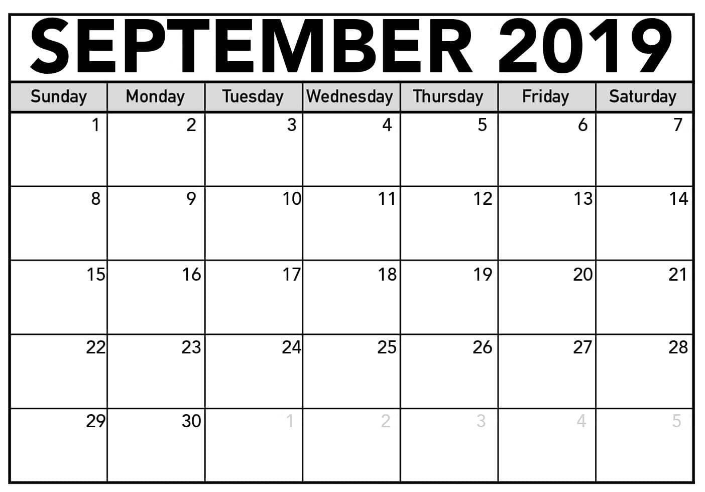 September Calendar 2019 Printable Design Template September
