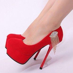 New red Fashion Shoes for Women | ... shoes velvet platform super ...