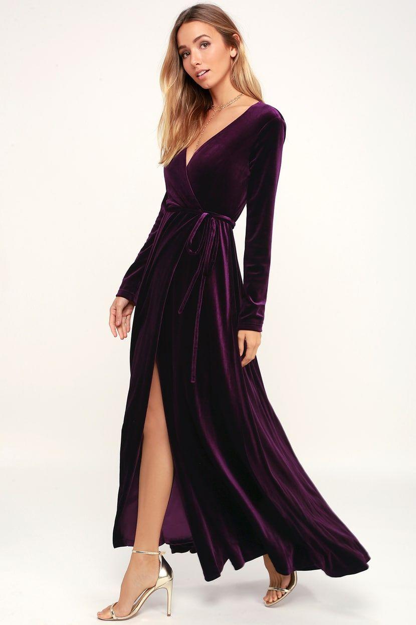 Jacinda Plum Purple Velvet Wrap Maxi Dress Purple Long Dress Purple Dress Outfits Velvet Dresses Outfit [ 1245 x 830 Pixel ]