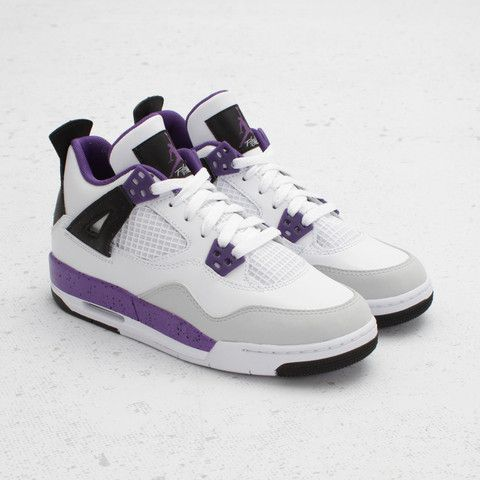 air jordan shoes for girls grey. air jordan girls 4 retro (white/ ultraviolet/ grey) shoes for grey