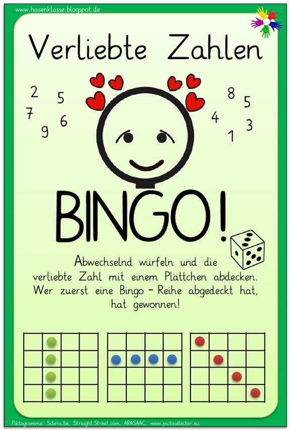 Das Verliebte Zahlen - Bingo! ist älteres Material, das ich nicht ...