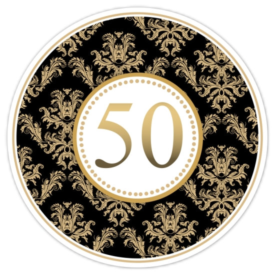 50th Anniversary Stickers Gold And Black By Delightdesignbiz, $5.95