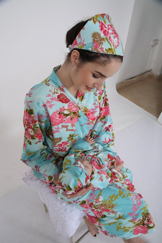 c048ab8f7d522 Mother and baby robe, labor and birth, pregnancy robe set, floral birthing  robe, floral mommy robe,