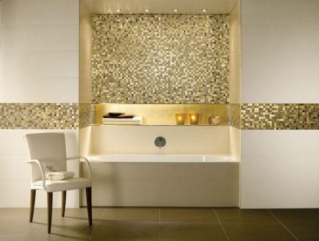 mosaik fliesen mit gold effekt luxurise atmosphre erzielen bad badezimmer - Badezimmer Mosaik